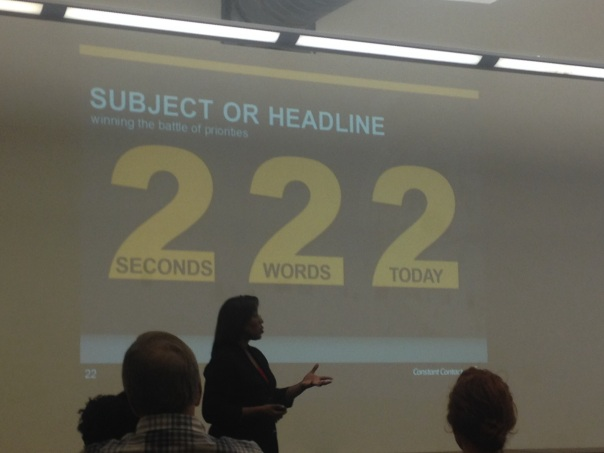 R. Pamela Adams presenting on how to create an engaging email subject line.